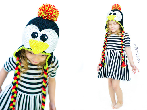 Crochet pattern PDF for making an adorable penguin animal hat with a pom-pom or bow by IraRott