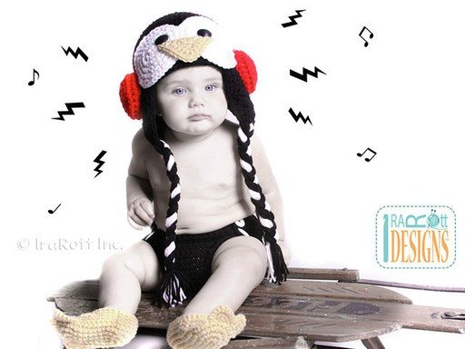 Penguin Animal Hat Diaper Cover Webbed Feet Booties for Babies by IraRott