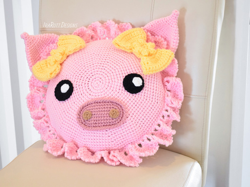Pinky Piggy Pig Pillow PDF Crochet Pattern With Instant Download by IraRott