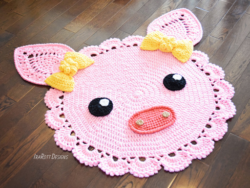 Pinky The Piggy Pig Rug PDF Crochet Pattern With Instant Download by IraRott