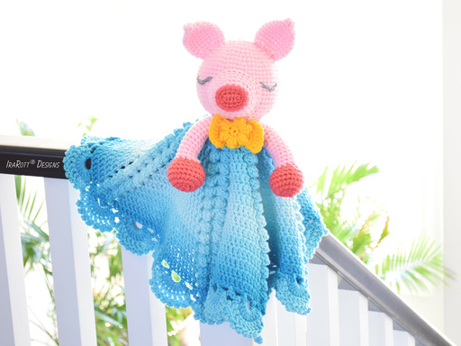 Pinky The Piggy Pig Security Blanket Lovey PDF Crochet Pattern by IraRott