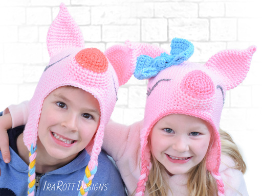 Pig Piglet Animal Hat Crochet Patterns for babies kids and adults by IraRott