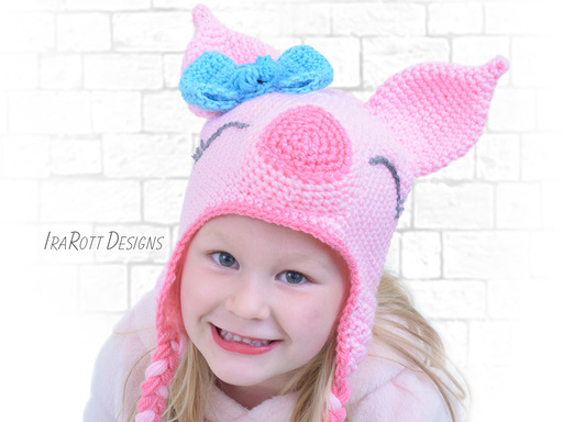 Pig Piglet Animal Hat Crochet Patterns for boys and girls of all ages by IraRott