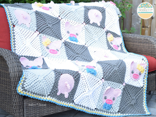 Pinky The Piggy Blanket PDF Crochet Pattern With Instant Download by IraRott