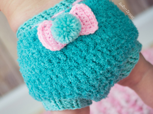 Crochet Pattern PDF for making a cute Bunny Diaper Cover with PomPom for babies