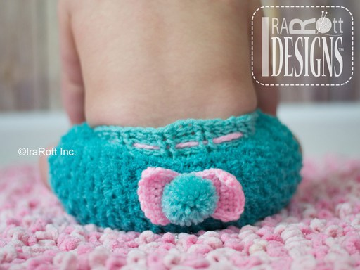 Crochet Pattern PDF for making a cute Bunny Diaper Cover with PomPom for baby boys and girls by IraRott