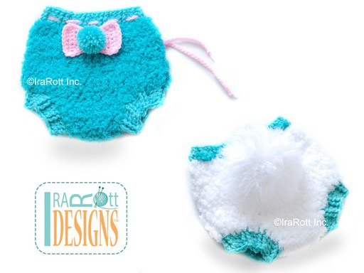 Crochet Pattern PDF for making a cute Bunny Diaper Cover with PomPom