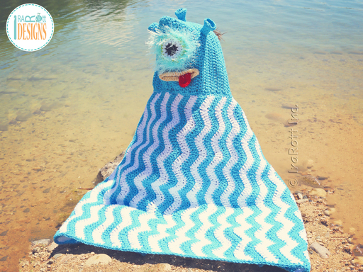 Crochet Pattern PDF for making a cute One Eye Alien Monster Hooded Beach Towel or Hooded Blanket