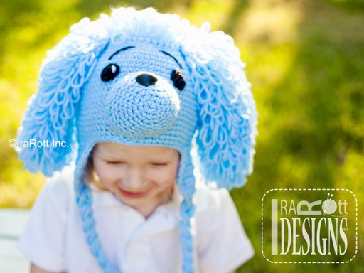 PDF Crochet Pattern for making a Loopy Poodle Puppy Dog Hat for all sizes