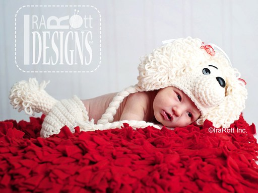 PDF Crochet Pattern for making a Loopy Poodle Puppy Dog Hat and Diaper Cover for Babies