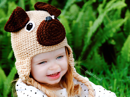 Pug Puppy Dog Animal Hat Crochet Pattern for Babies Kids and Adults