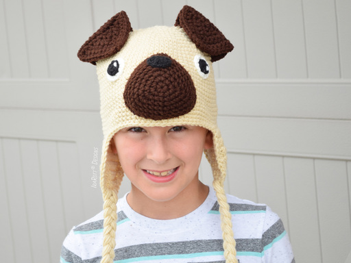 PDF Crochet pattern for making an adorable Pug Puppy Dog Hat for all sizes