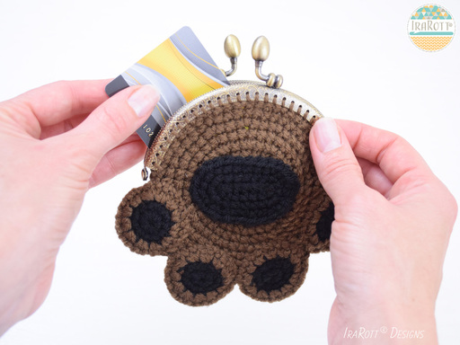 Pumpkin The Cat Paw Coin Purse PDF Crochet Pattern by IraRott