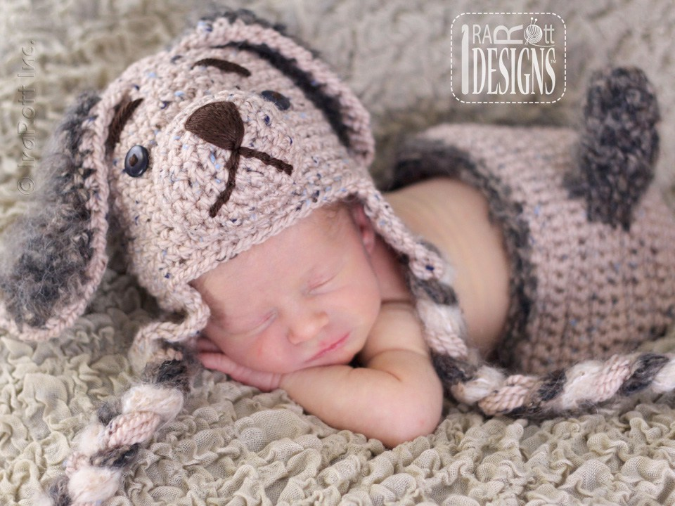 Crochet Pattern Baby Dog Hat : Biscuit Puppy Hat and Diaper Cover Set PDF Crochet Pattern ...