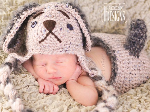 PDF Crochet Pattern for making an adorable Puppy Baby Hat with Big Ears and Diaper cover with Tail.