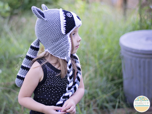 Raccoon Animal Hats Crochet Pattern for babies kids and adults by IraRott