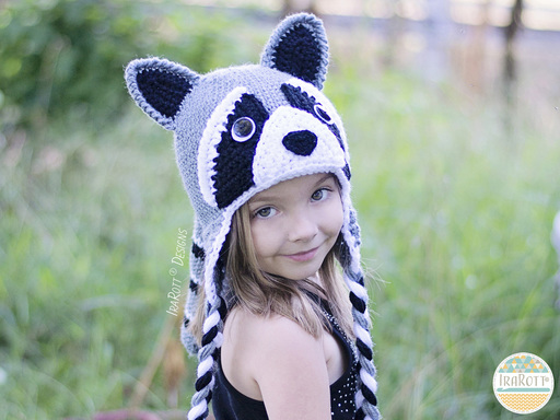 Raccoon Animal Hats Crochet Pattern for boys and girls of all ages by IraRott