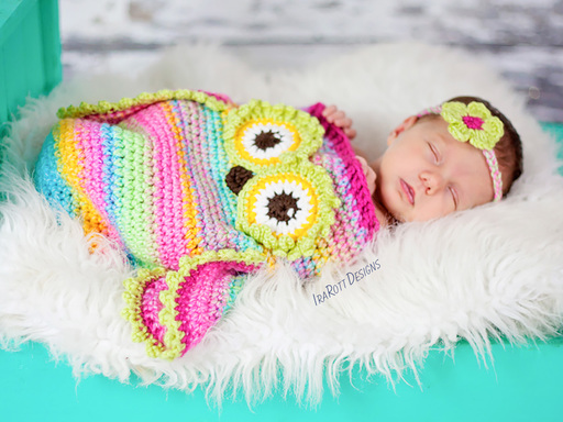 Owl Cocoon Sleeping Bag Crochet Pattern for Babies by IraRott