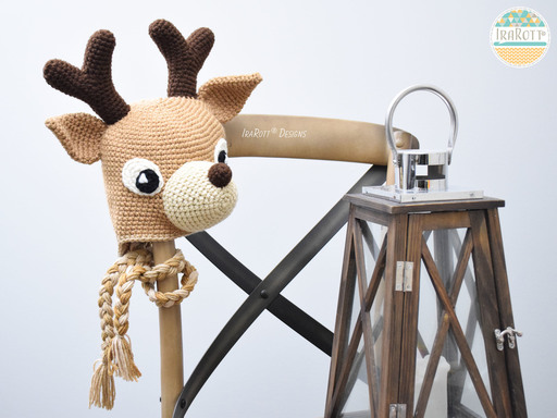 Reindeer Animal Hat Crochet Pattern for boys and girls of all ages by IraRott
