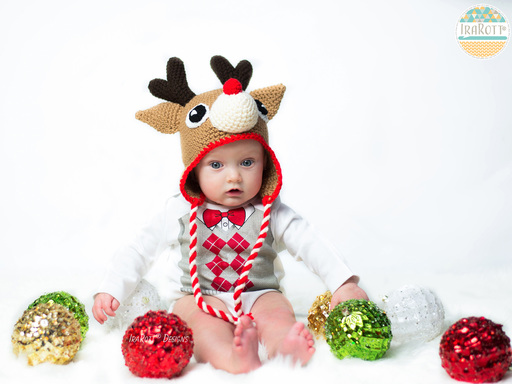 PDF Crochet Pattern for making a cute Reindeer Christmas Hat with Antlers for all sizes.