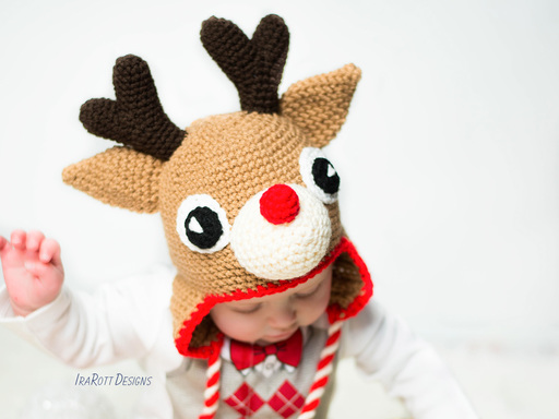Reindeer Animal Hat Crochet Pattern for babies kids and adults by IraRott