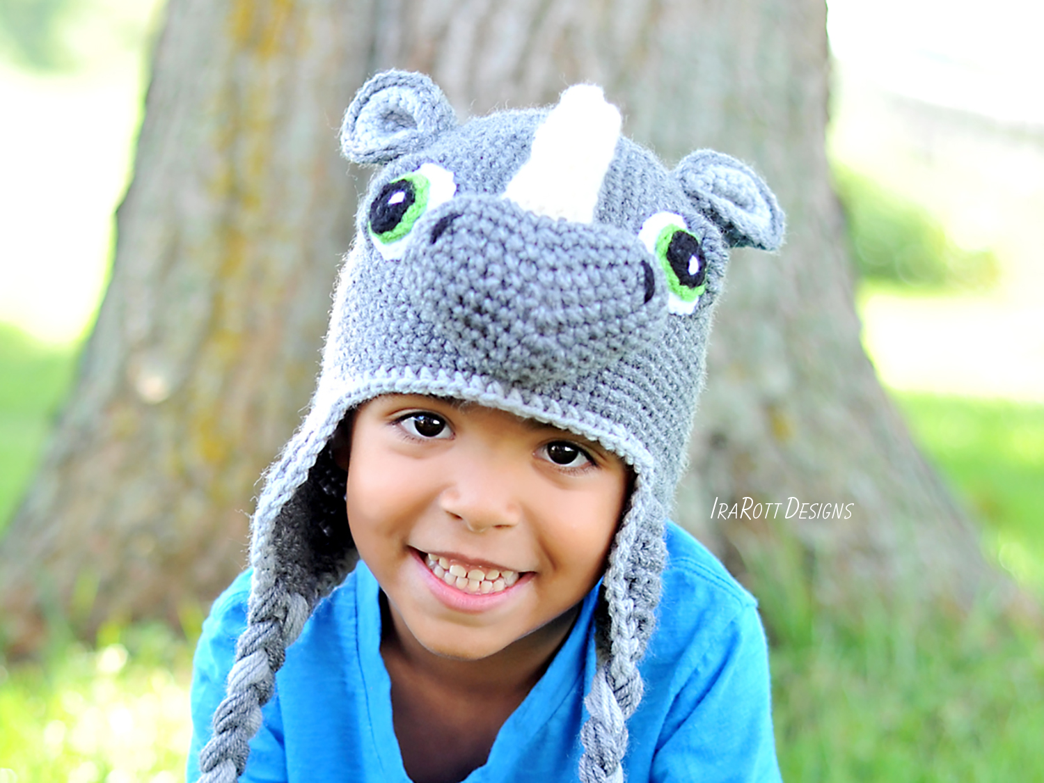 Rhino Rhinoceros Animal Hat Crochet Pattern for boys and girls of all ages