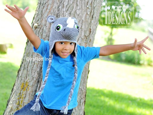 Rhino Rhinoceros Animal Hat Crochet Pattern for babies kids and adult by IraRott
