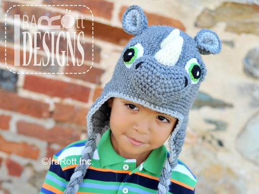 Crochet Pattern PDF for making a cute Rhino the Rhinoceros Animal Hat for boys and girls of all ages