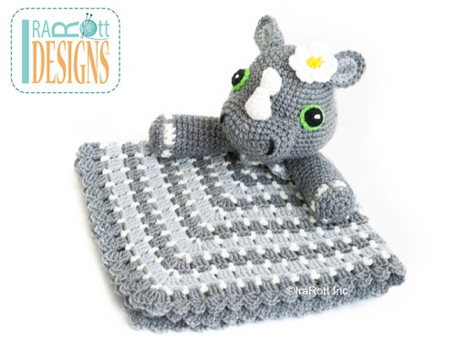 Rhino Rhinoceros Animal Lovey Security Blanket Crochet Pattern for babies and children by IraRott