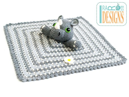 Rhino Rhinoceros Animal Lovey Security Blanket Crochet Pattern for boys and girls by IraRott