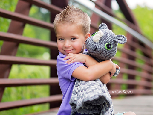 Crochet Pattern PDF for making a cute Rhino the Rhinoceros Snuggle Blankey Lovey Blanket