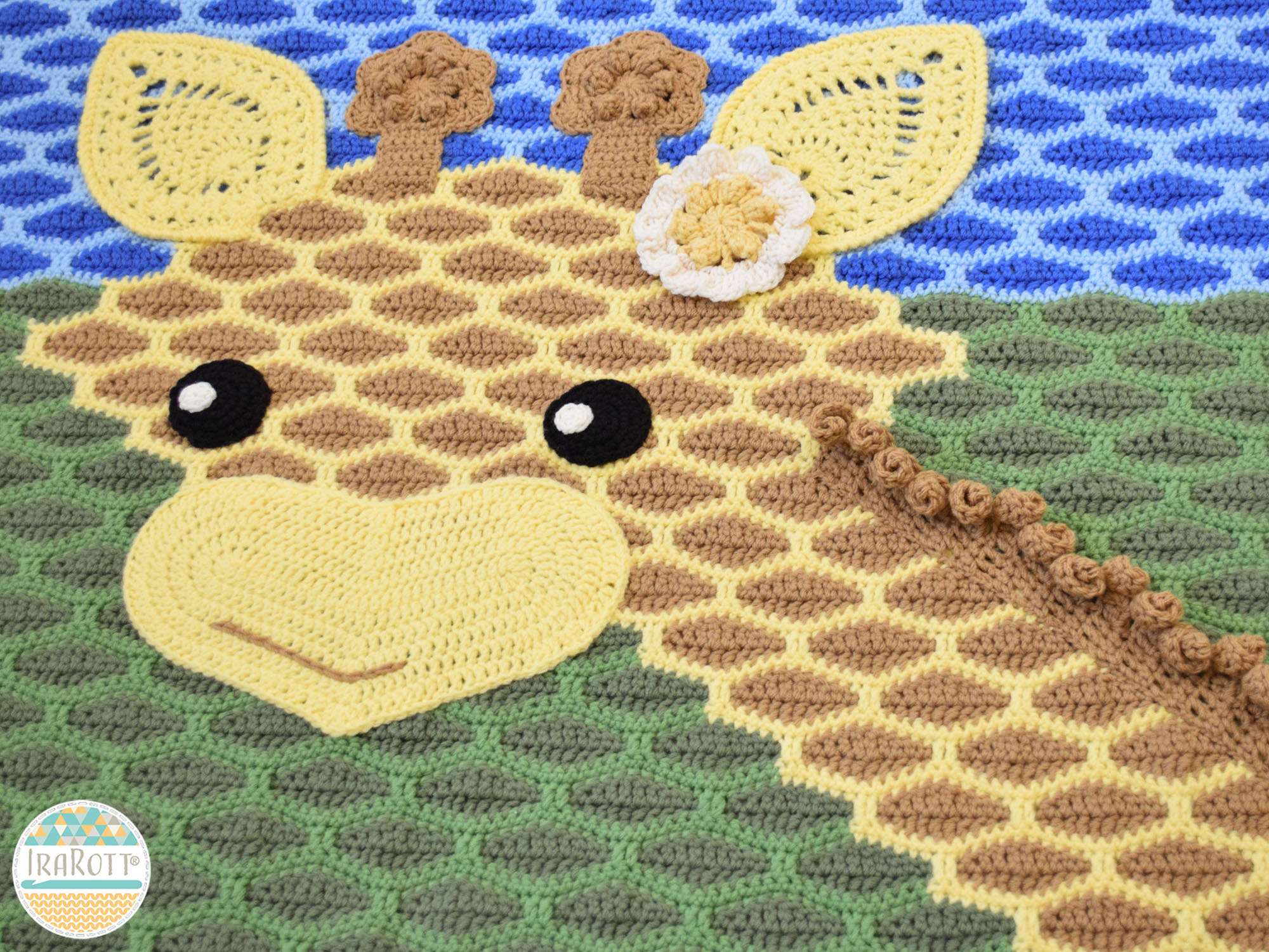 Crochet Pattern Giraffe Blanket : Rusty the Giraffe Blanket PDF Crochet Pattern - IraRott Inc.