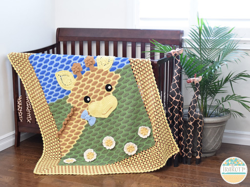 Crochet pattern PDF by IraRott for making an adorable giraffe blanket for babies and toddlers