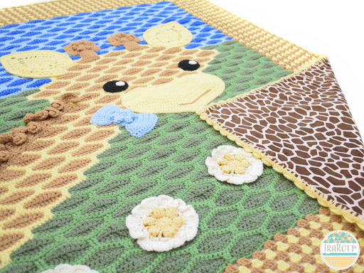 Crochet giraffe blanket pattern by IraRott for nursery or playroom