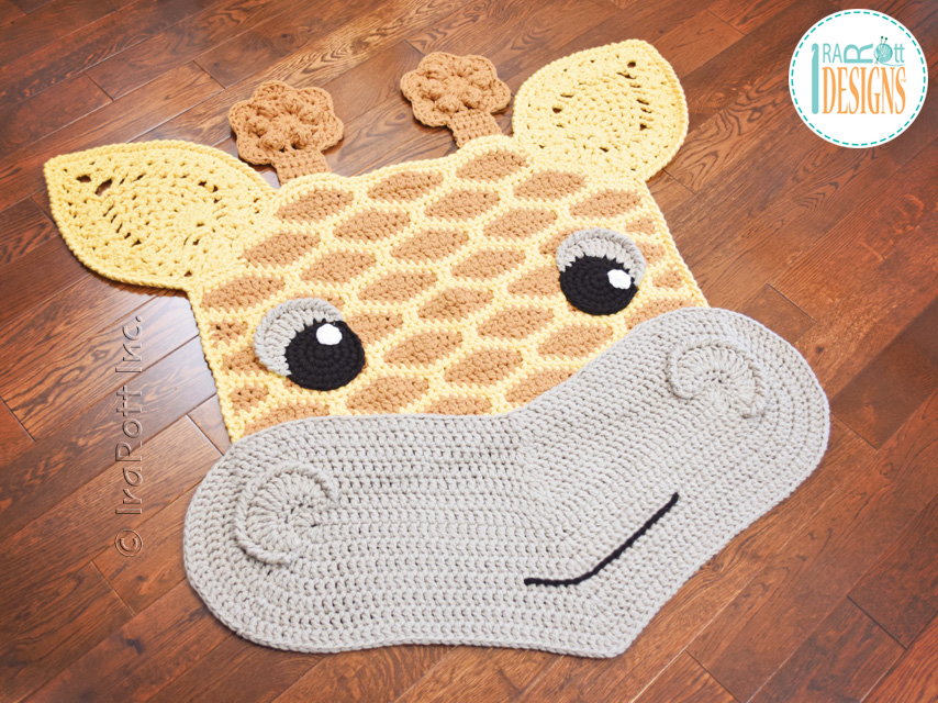 Crochet pattern PDF by IraRott for making an adorable giraffe rug or safari  area mat - Rusty The Giraffe Rug PDF Crochet Pattern - IraRott Inc.