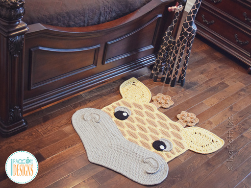 Crochet pattern PDF by IraRott for making an adorable giraffe rug or safari area mat