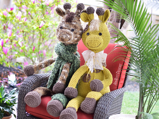 Crochet PDF pattern by IraRott for making a giant giraffe amigurumi stuffed toy using Bernat Blanket yarn