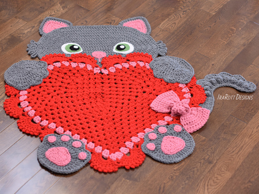 Crochet pattern PDF for making a cute Sassy the kitty cat with heart rug or reading mat using granny square technique by IraRott
