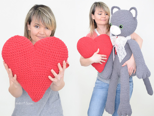 Sassy The Kitty Cat With Heart Big Amigurumi PDF Crochet Pattern With Instant Download by IraRott