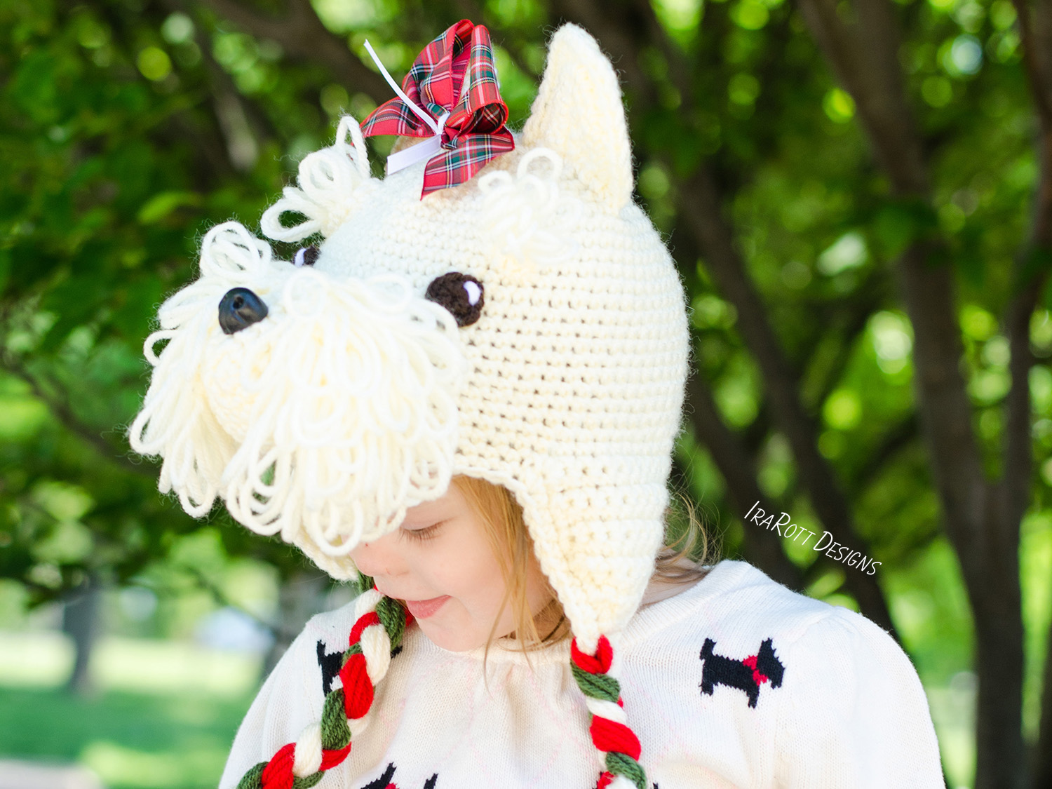Dog patterns irarott inc scottish terrier or westie puppy dog animal hat crochet pattern for babies kids and adults by dt1010fo