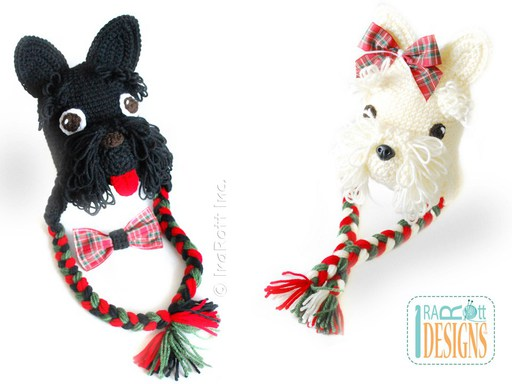 Scottish Terrier or Westie Puppy Dog Animal Hat Crochet Pattern for Boys and Girls of all ages by IraRott