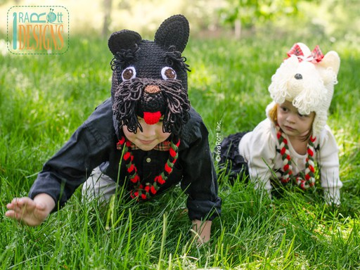 Scottish Terrier or Westie Puppy Dog Animal Hat Crochet Pattern for Infants toddlers and children by IraRott