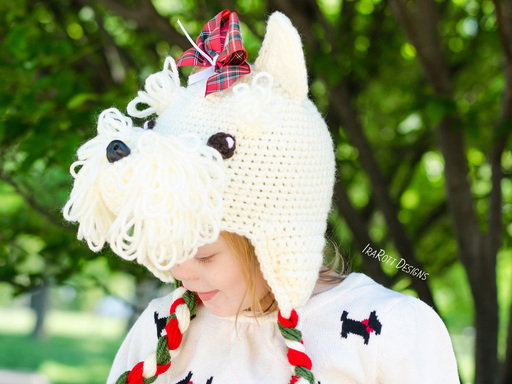 PDF Crochet Pattern for making a cute Scottish Terrier or Westie Puppy Dog Hat for all sizes