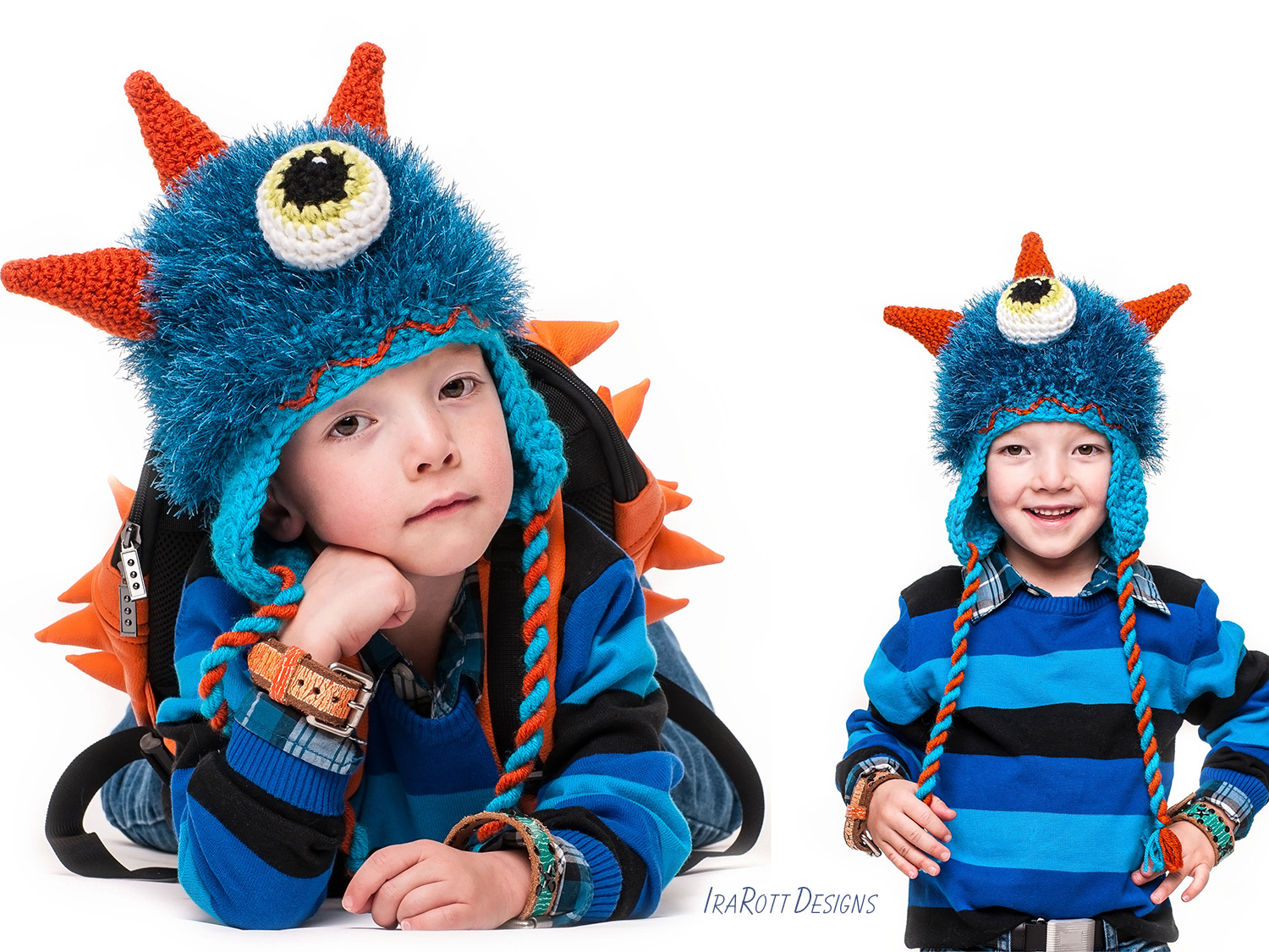 PDF Crochet Pattern for making a Furry Sea Monster Hat with Horns for all sizes