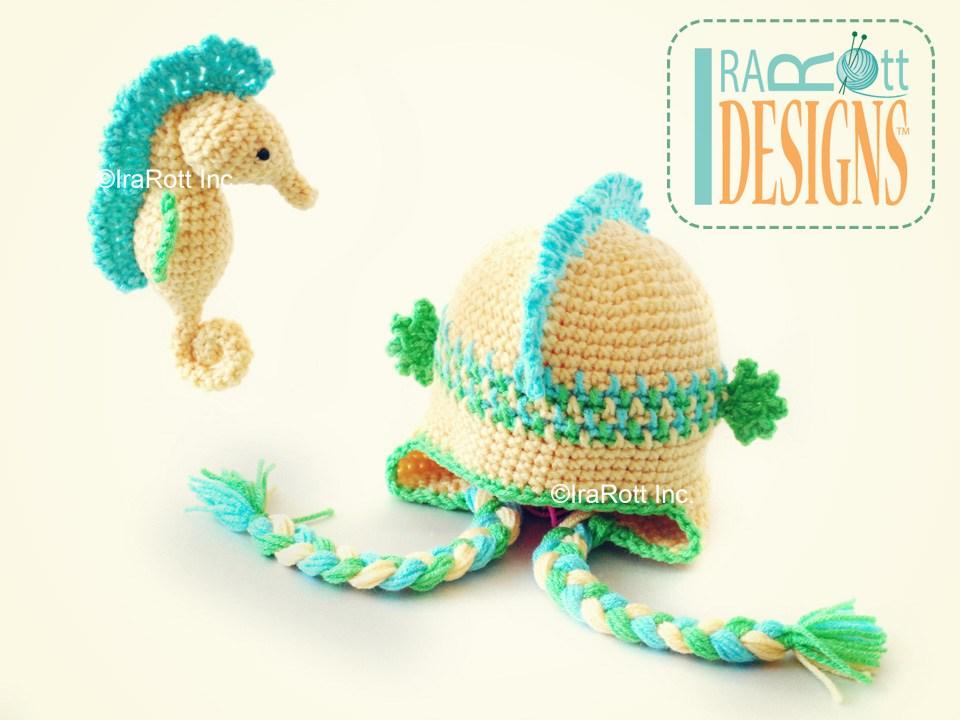 Crochet Amigurumi Seahorse Free Pattern : Sea Biscuit the Seahorse Hat and Amigurumi Toy PDF Crochet ...