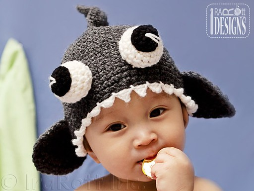 Shark Animal Hat Crochet Pattern for boys and girls of all ages by IraRott