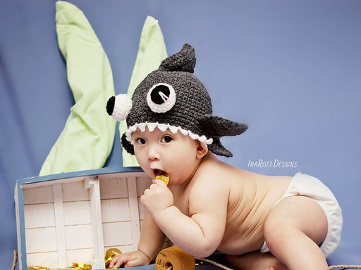 Shark Animal Hat Crochet Pattern for babies kids and adults by IraRott