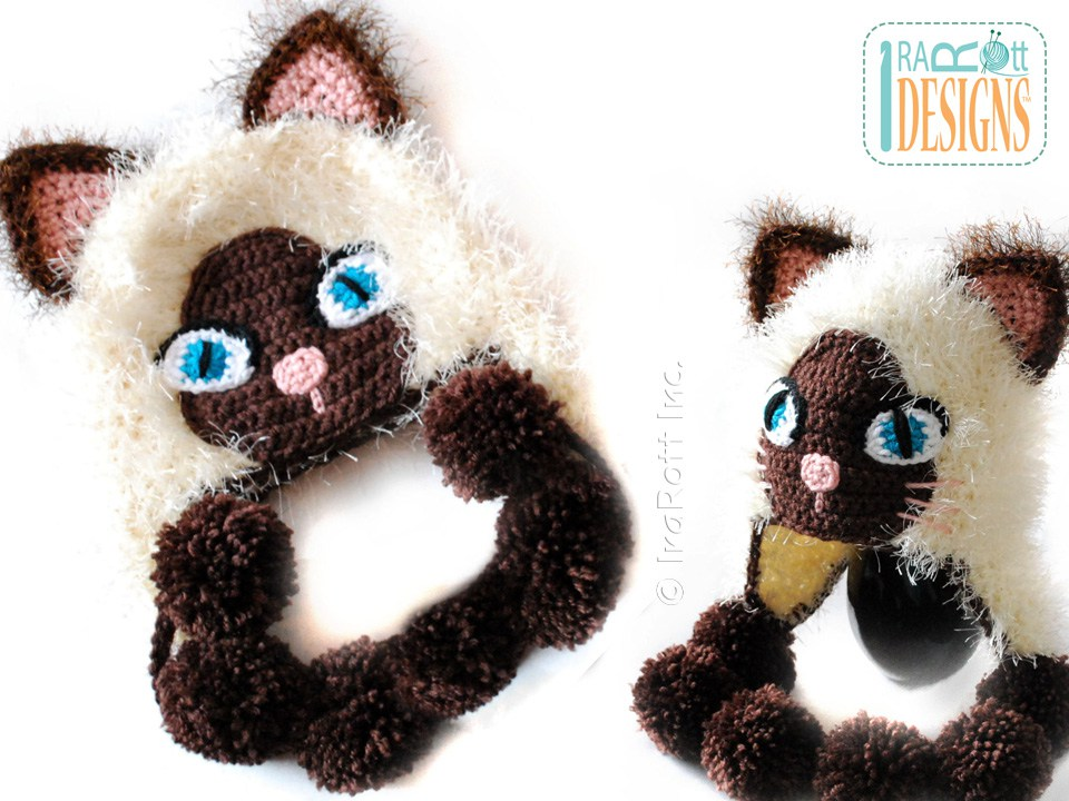 Crochet Pattern For A Hat For A Cat : Yin and Yang Siamese Kitty Hat PDF Crochet Pattern ...