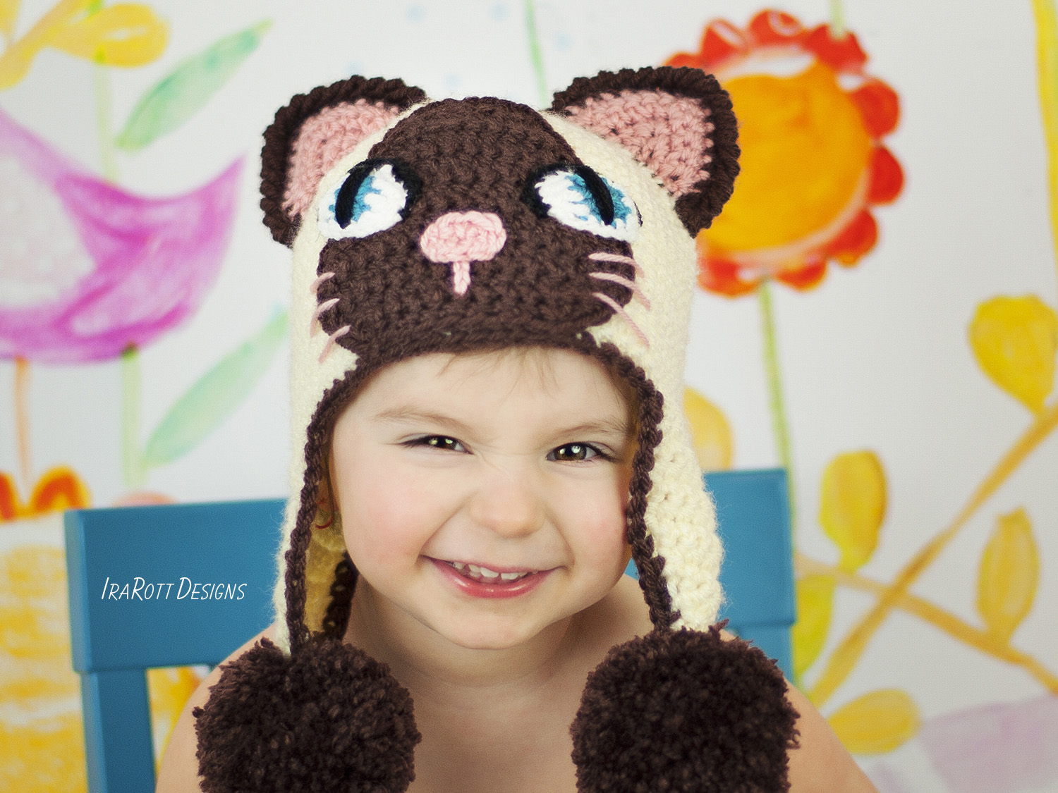 Siamese or Tuxedo Kitty Animal Hat Crochet Pattern for babies kids and  adults by Irarott 87949386837