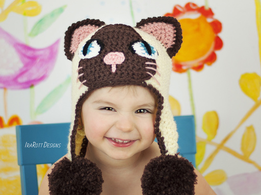 Siamese or Tuxedo Kitty Animal Hat Crochet Pattern for babies kids and adults by Irarott